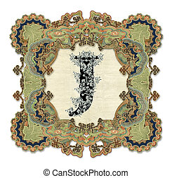 Letter J - Luxuriously illustrated old capital letter J