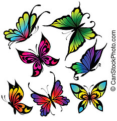 Set of colour butterflies of tattoo - Vector set with colour...