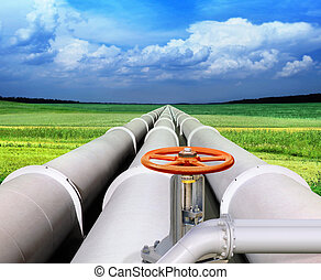 gas-transmission pipeline - gas pipe line and valve that...