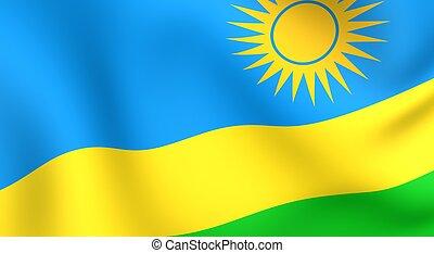 Flag of Rwanda. Close up. Front view.