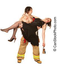 Sexy fireman rescuing pretty woman - Sexy male fireman...