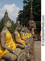 Aligned statues of Buddha ayutthaya thailand 2011