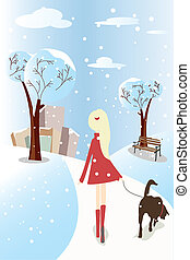 Girl walking her dog - A vector illustration of a girl...