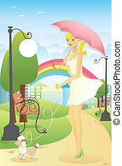 Girl walking her dog - A vector illustration of a beautiful...