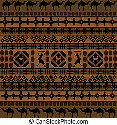 Background with African motifs and camels silhouettes