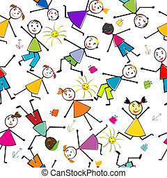 Seamless pattern with children