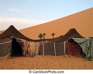 Camp in the Moroccan desert - Bedouin camp in Erg Chebbi,...