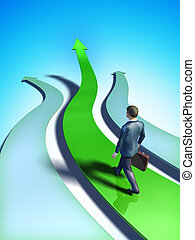 Business trend - Different paths representing business...