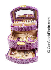 Lilac box with jewelry