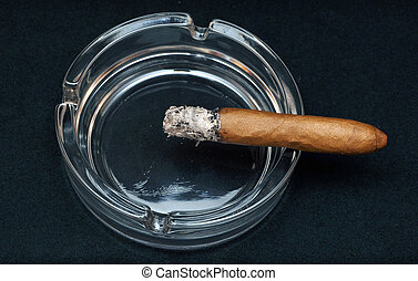 Smoking cigar in an ashtray on dark background