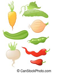 set of glossy vegetable icons - set of vector glossy...