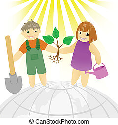 Children with a tree - boy with a girl standing on a round...