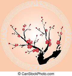 Oriental style painting, Plum blossom