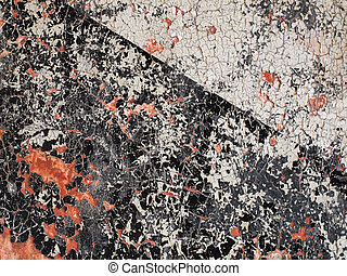 Decaying Black and White cross paint with splatters of Red -...