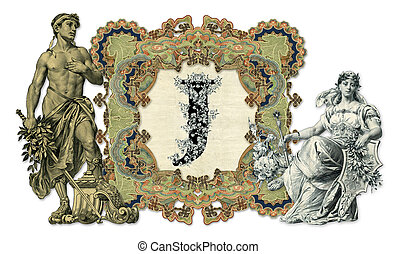 Letter J - Luxuriously illustrated old capital letter J with...