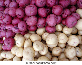 Half purple, half white pile of potatos on display at a...