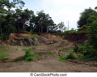Small Abandoned rock quarry in a remote part of Costa Rica