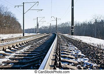 ferrocarril, invierno, tiempo