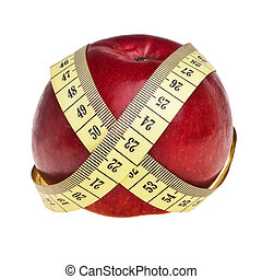 Red apple wrapped with yellow measurement tape over white background.