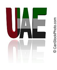 UAE text with their flag illustration