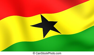 Flag of Ghana. Close up. Front view.