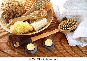 cepillos, estera, esponjas, balneario, bambú, jabón