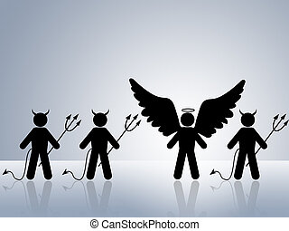 angel amoung devils - angel surrounded by devils trying to...