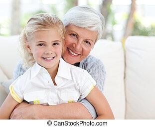 可愛, 很少, 女孩, 她, 祖母, 看, 照像機