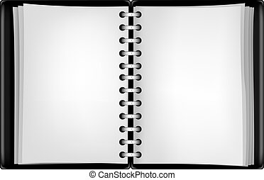 black notepad - Black open notepad isolated on the white...