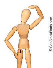 Pensive jointed wooden mannequin
