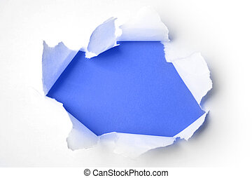 Ripped paper - Hole ripped in paper on blue