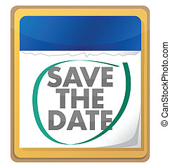 save the date illustration design over white