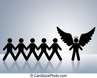 guardian angel looking over group of people