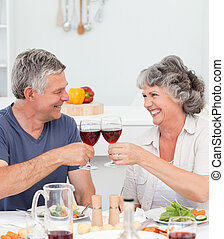 Senior couple drinking some wine at home