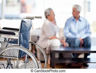 encantador, aposentado, par, falando