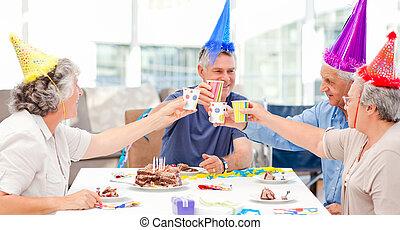 maduras, amigos, aniversário