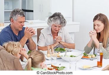 família, orando, tabela