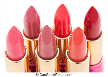 Multicolored color lipsticks arranged in two lines isolated...
