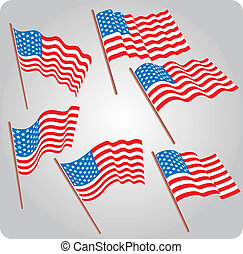 Six USA flags - Set of six USA flags in various poses
