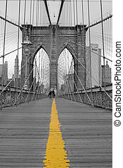 The Brooklyn Bridge - View of the Brooklyn bridge in New...