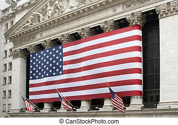 New York Stock Exchange - US Flag in front of New York Stock...