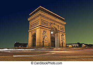 Arc de Triomphe, Paris France - Arc de Triomphe with passing...