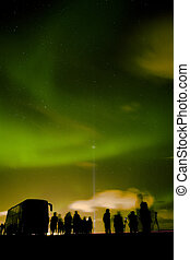 Intense northern lights (Aurora borealis) in Iceland with...