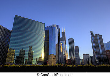 Colourful Chicago Downtown at Sunset, USA