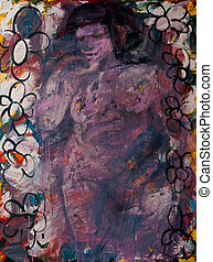 Abstract painting: Female Bather