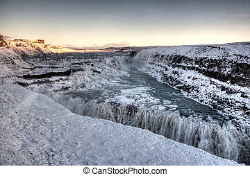 Gulfoss Waterfall in Iceland - Frozen Gulfoss Waterfall in...
