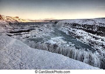 Gulfoss Waterfall in Iceland - Frozen Gulfoss Waterfall in...