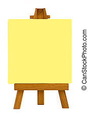 Note Pad On Painters Easel - Yellow Note Pad On Painters...