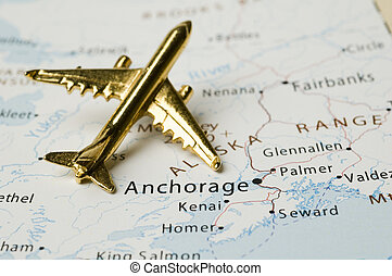 Plane Over Alaska, Map is Copyright Free Off a Government...