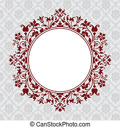 Vector Circle Floral Frame - Vector ornate frame Easy to...